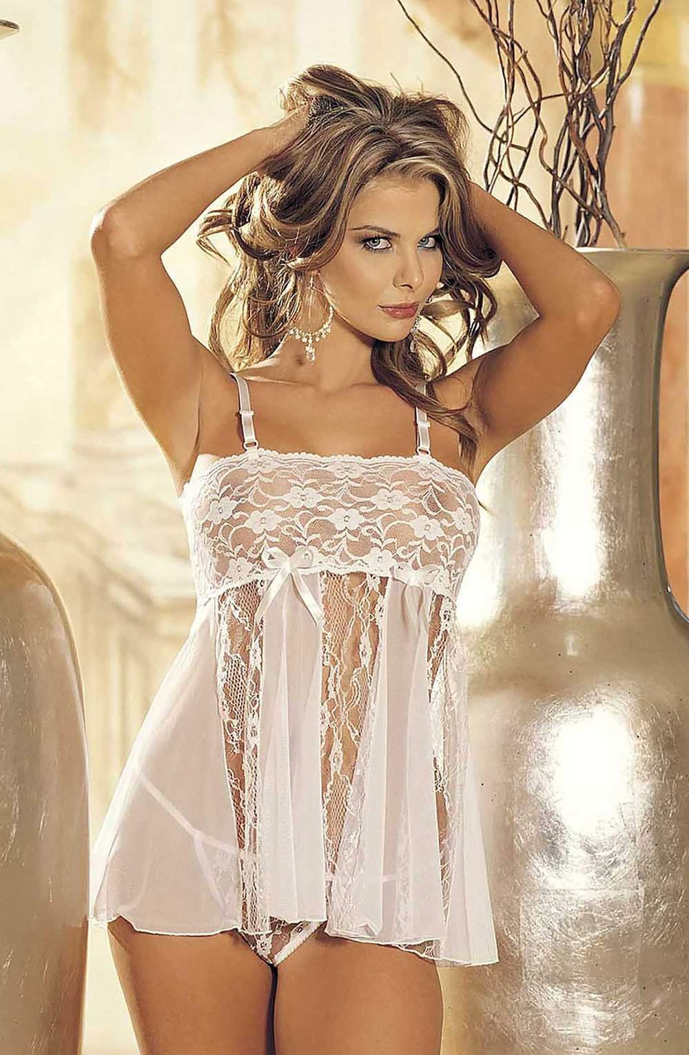 96120 Babydoll in White by Shirley of Hollywood - Shirley of Hollywood - Katys Boutique Lingerie USA
