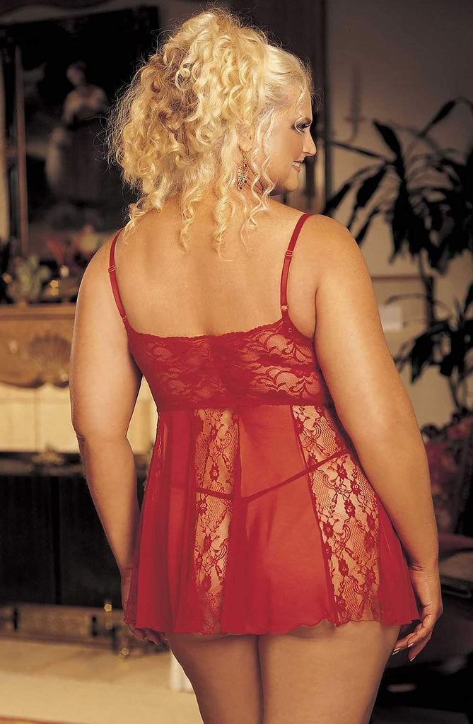 96120Q Babydoll (Plus Size) in Red by Shirley of Hollywood - Shirley of Hollywood - Katys Boutique Lingerie USA