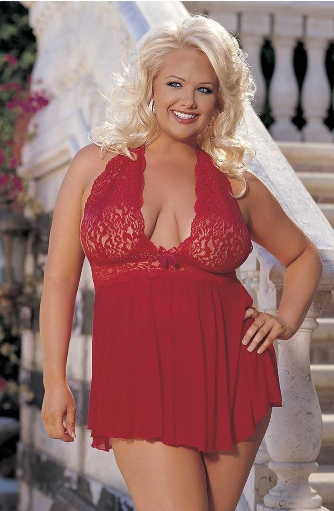 96164Q Babydoll (Plus Size) in Red by Shirley of Hollywood - Shirley of Hollywood - Katys Boutique Lingerie USA