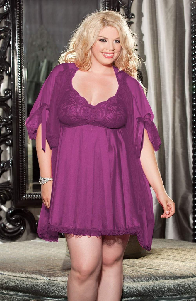 XX3595 Babydoll Peignoir Set in Plum by Shirley of Hollywood - Shirley of Hollywood - Katys Boutique Lingerie USA