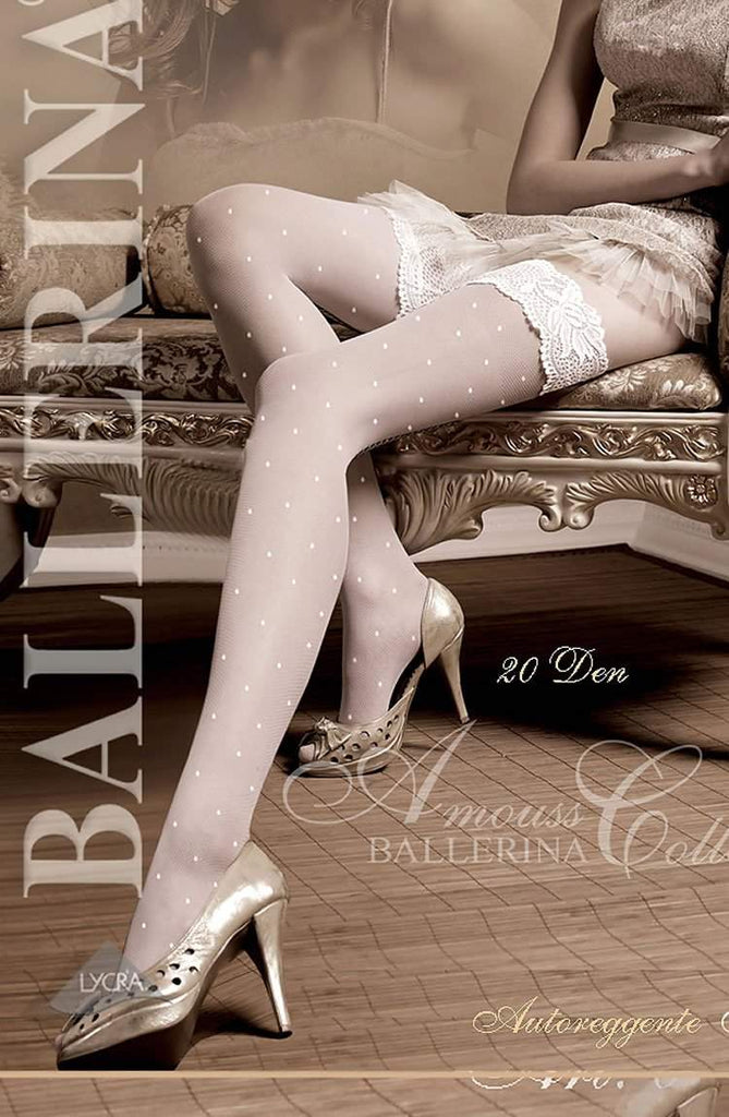 006 Hold Ups in White by Ballerina - Ballerina - Katys Boutique Lingerie USA