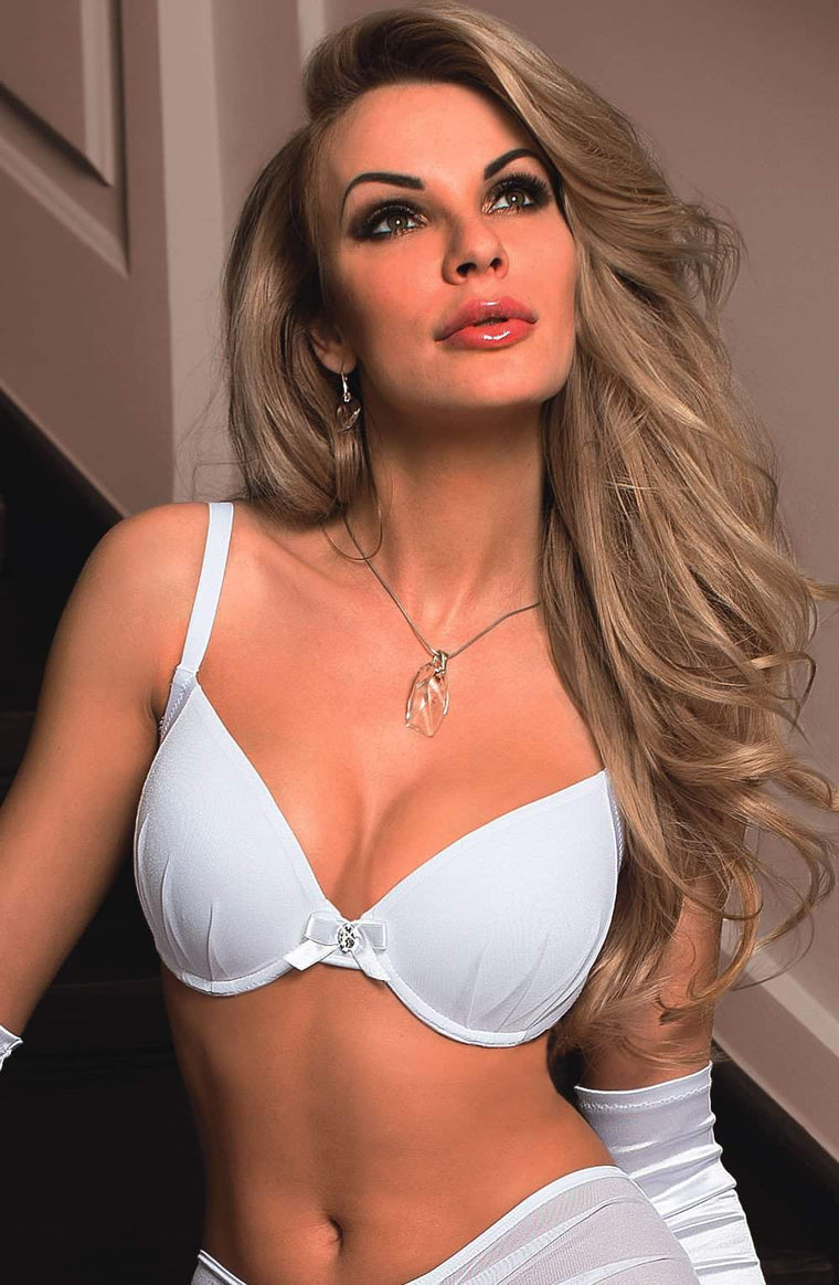 Frosa Plunge Bra in White by Roza - Roza - Katys Boutique Lingerie USA