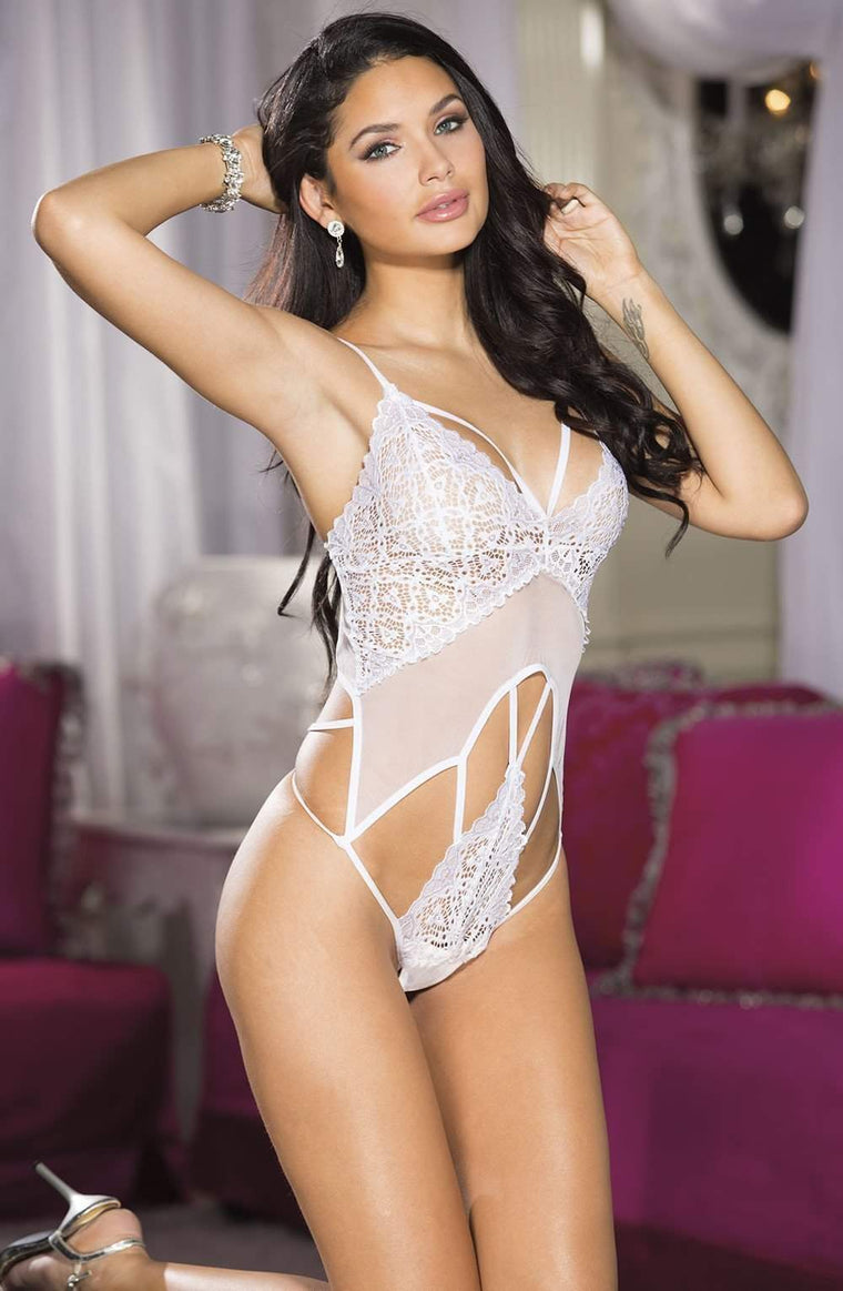 2151 Strappy Lace Teddy in White by Shirley of Hollywood - Shirley of Hollywood - Katys Boutique Lingerie USA