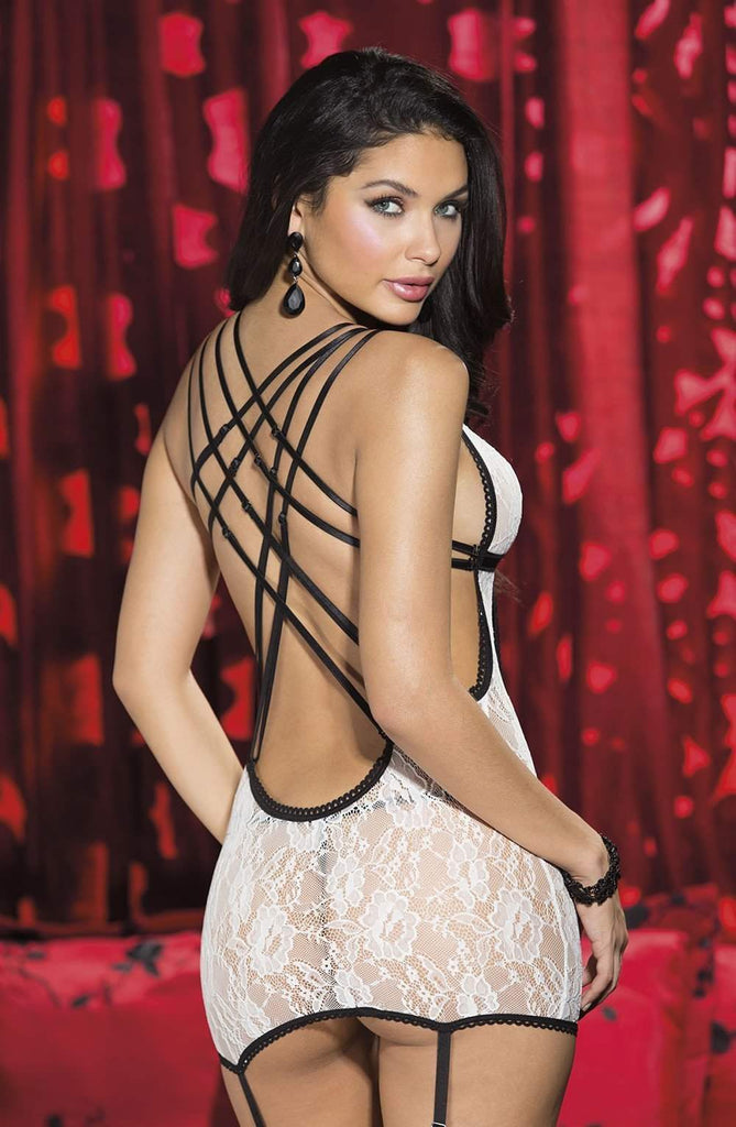 25483 Stretch Lace Chemise in Ivory by Shirley of Hollywood - Shirley of Hollywood - Katys Boutique Lingerie USA
