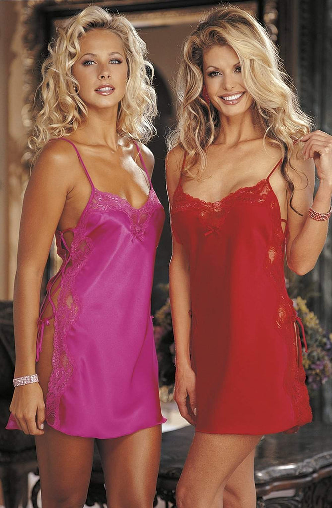20015 Lace Chemise in Passion Pink by Shirley of Hollywood - Shirley of Hollywood - Katys Boutique Lingerie USA