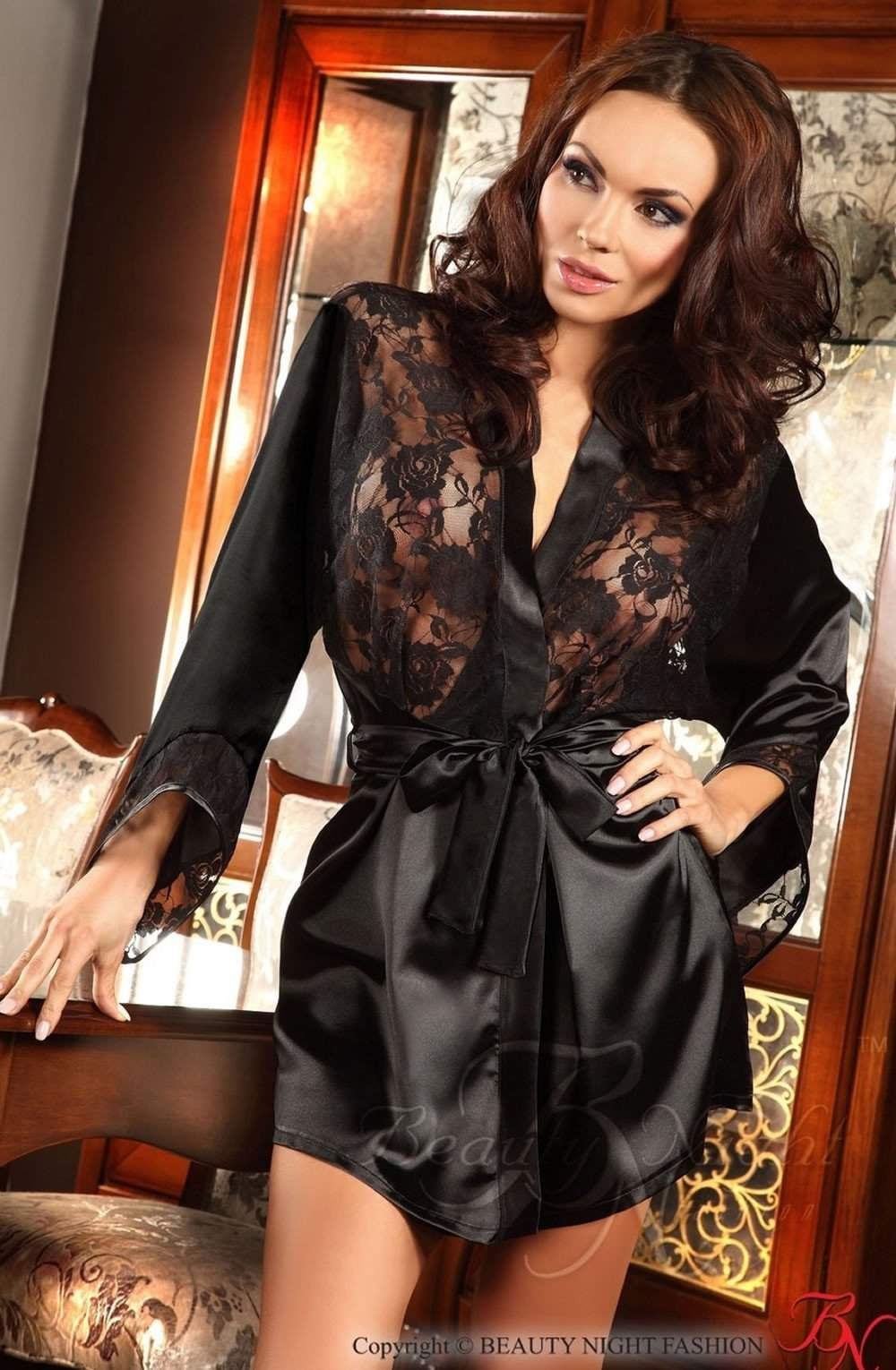 Prilance Dressing Gown in Black by Beauty Night - Beauty Night - Katys Boutique Lingerie USA