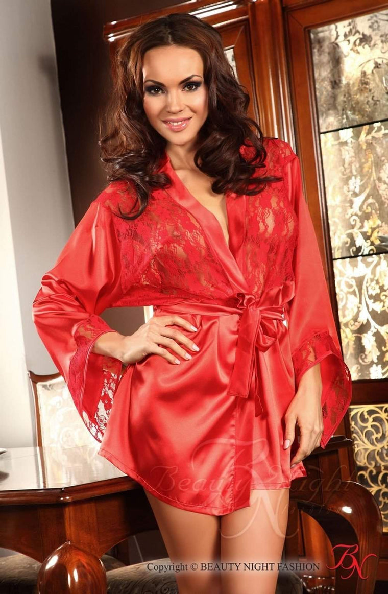 Prilance Dressing Gown in Red by Beauty Night - Beauty Night - Katys Boutique Lingerie USA