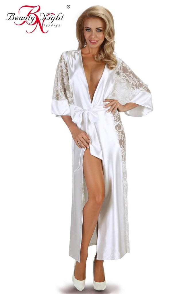 Bouquet Dressing Gown in White by Beauty Night - Beauty Night - Katys Boutique Lingerie USA