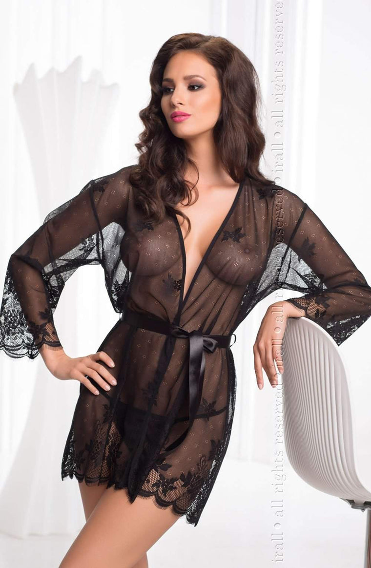 Diamond Dressing Gown in Black by Irall - Irall - Katys Boutique Lingerie USA