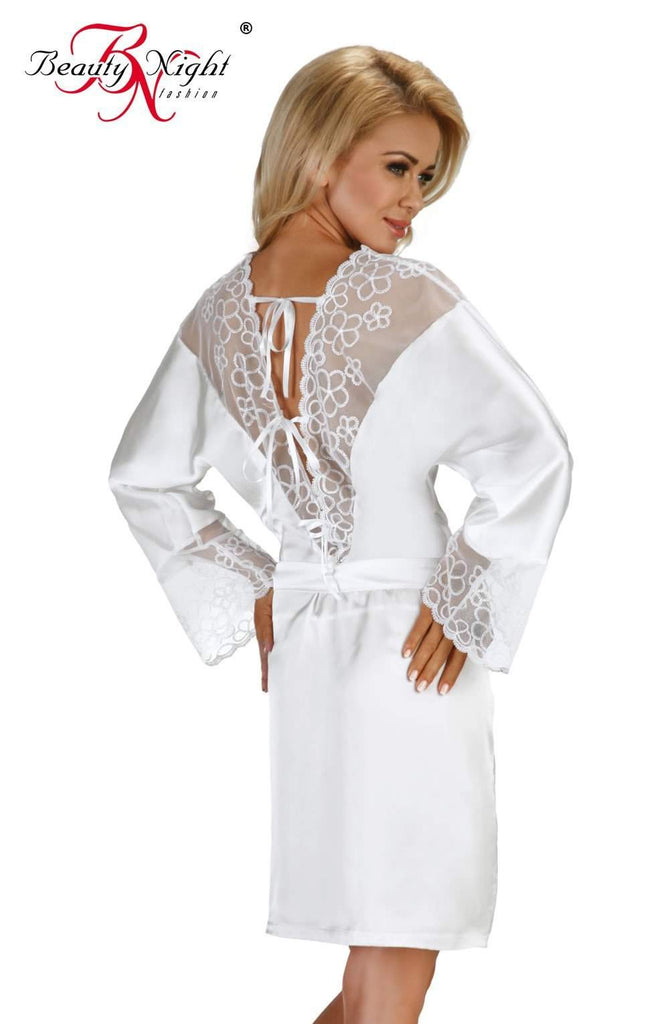 Federica Dressing Gown in White by Beauty Night - Beauty Night - Katys Boutique Lingerie USA