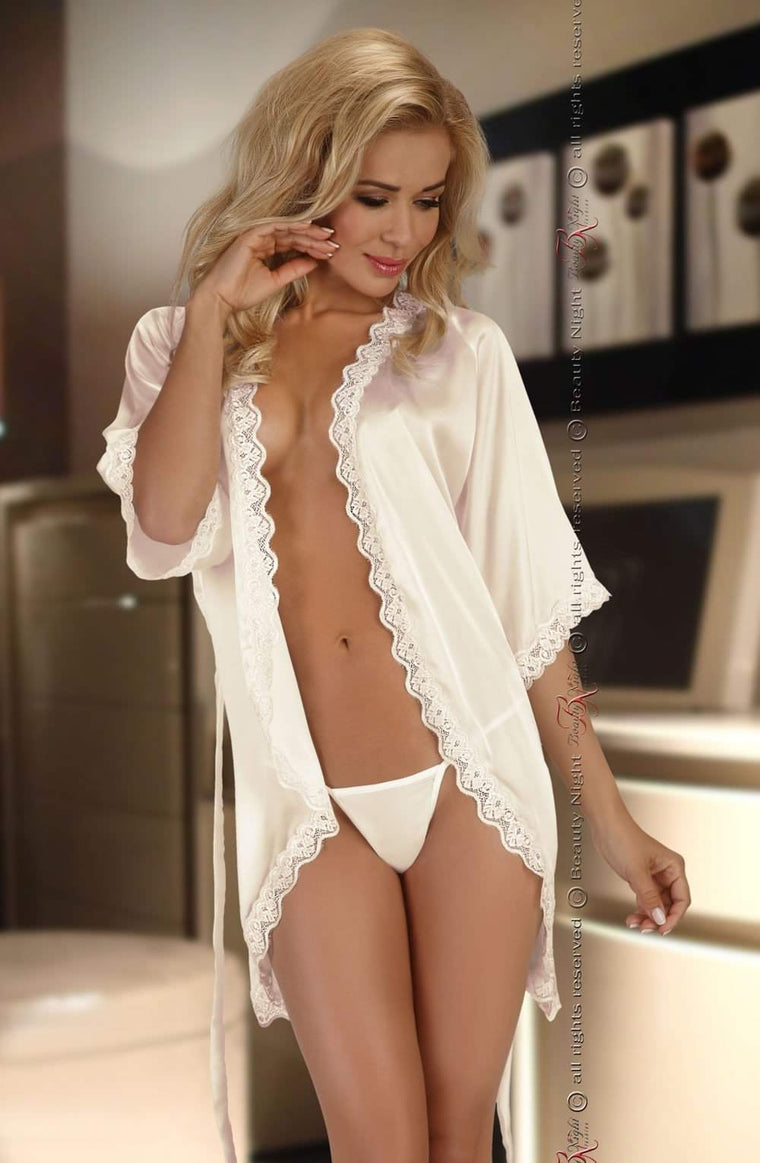 Shannon Dressing Gown in Vanilla White by Beauty Night - Beauty Night - Katys Boutique Lingerie USA