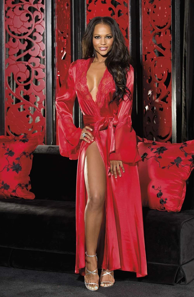 20559 Long Robe in Red by Shirley of Hollywood - Shirley of Hollywood - Katys Boutique Lingerie USA