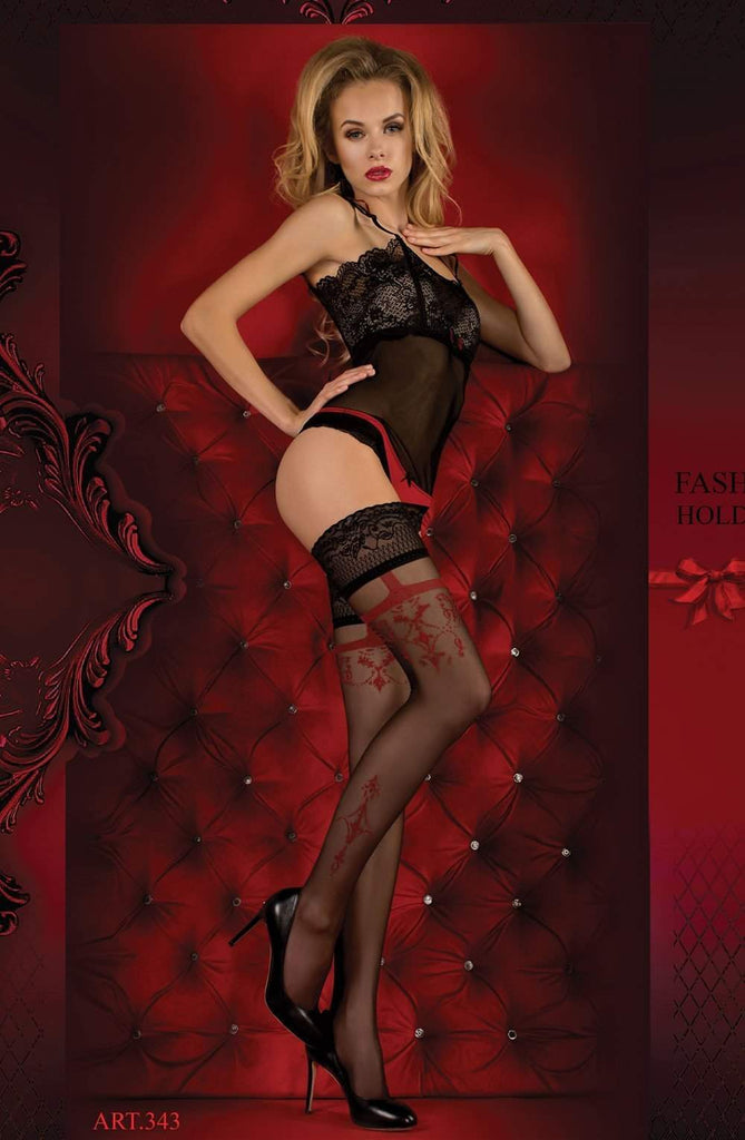 343 Hold Ups in Nero (Black) / Red by Ballerina - Ballerina - Katys Boutique Lingerie USA