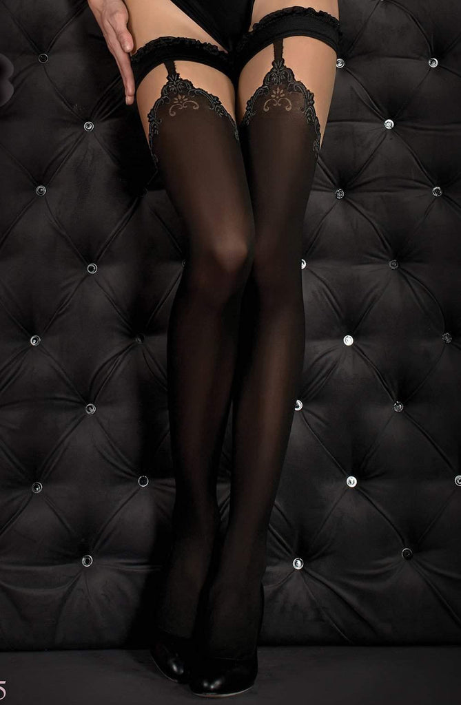 345 Hold Ups in Black by Ballerina - Ballerina - Katys Boutique Lingerie USA