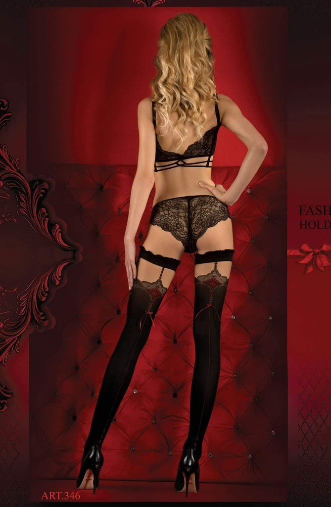 346 Hold Ups in Nero (Black) / Red by Ballerina - Ballerina - Katys Boutique Lingerie USA