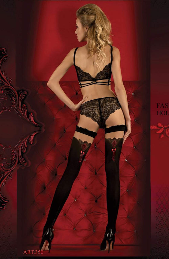 350 Hold Ups in Nero (Black) / Red by Ballerina - Ballerina - Katys Boutique Lingerie USA