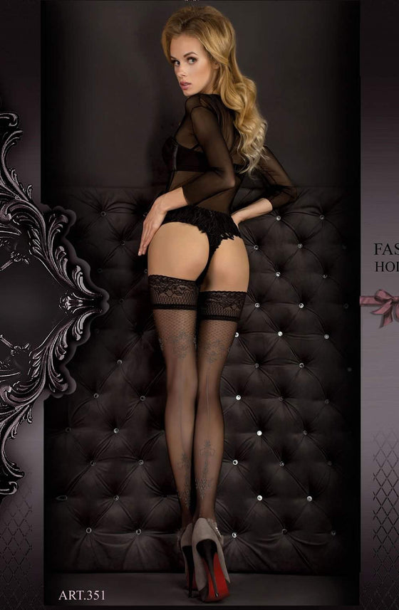 351 Hold Ups in Nero (Black) / Smoke by Ballerina - Ballerina - Katys Boutique Lingerie USA