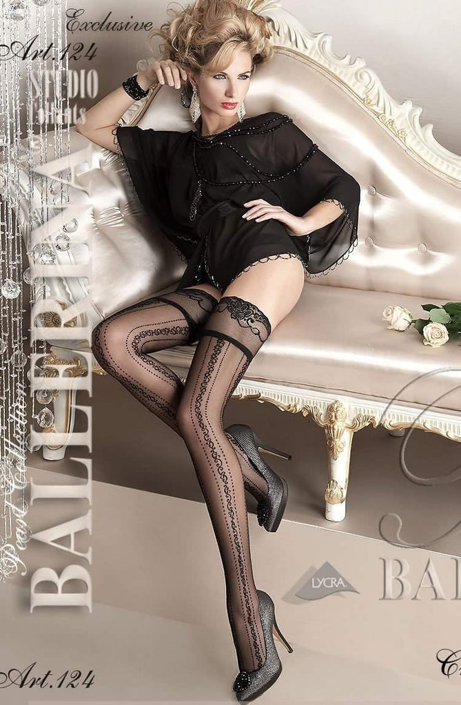 124 Hold Ups in Black by Ballerina - Ballerina - Katys Boutique Lingerie USA