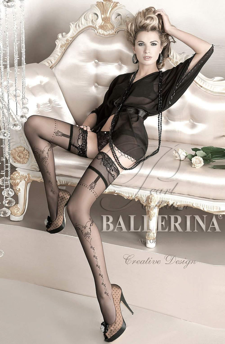 127 Hold Ups in Black by Ballerina - Ballerina - Katys Boutique Lingerie USA