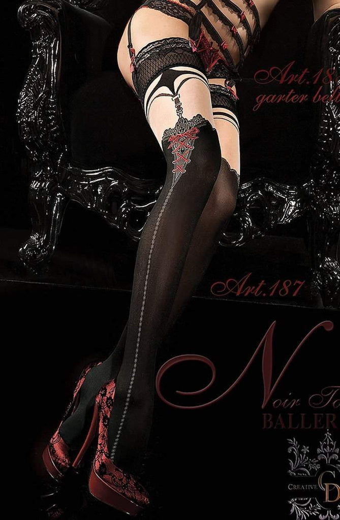 187 Hold Ups in Black by Ballerina - Ballerina - Katys Boutique Lingerie USA