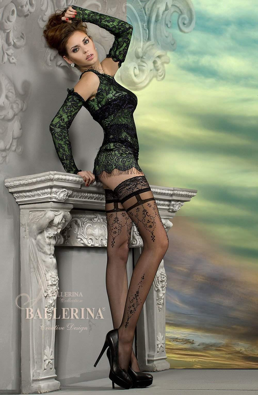 212 Hold Ups in Black/Metallic Thread by Ballerina - Ballerina - Katys Boutique Lingerie USA