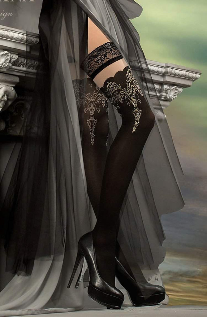 220 Hold Ups in Black/Metallic Thread by Ballerina - Ballerina - Katys Boutique Lingerie USA