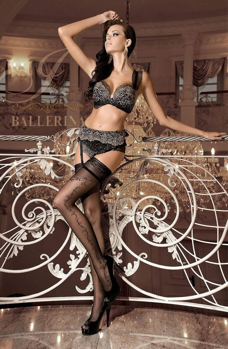 259 Hold Ups in Black by Ballerina - Ballerina - Katys Boutique Lingerie USA