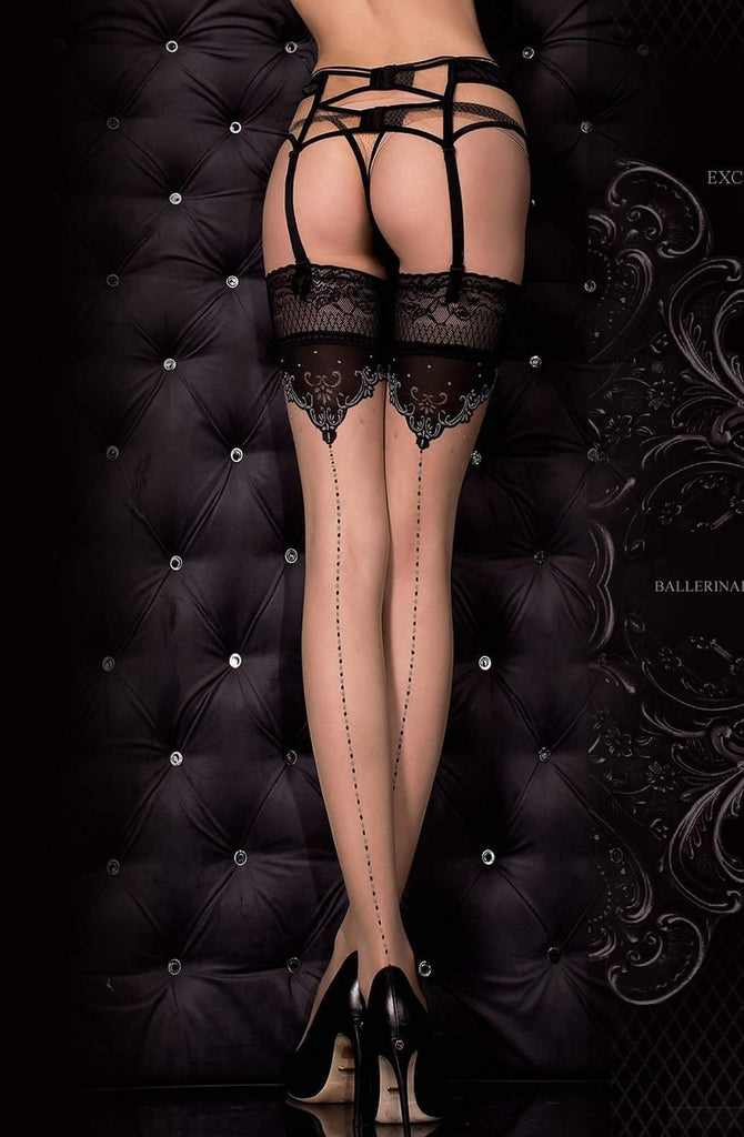 317 Hold Ups in Nero (Black) / Skin by Ballerina - Ballerina - Katys Boutique Lingerie USA