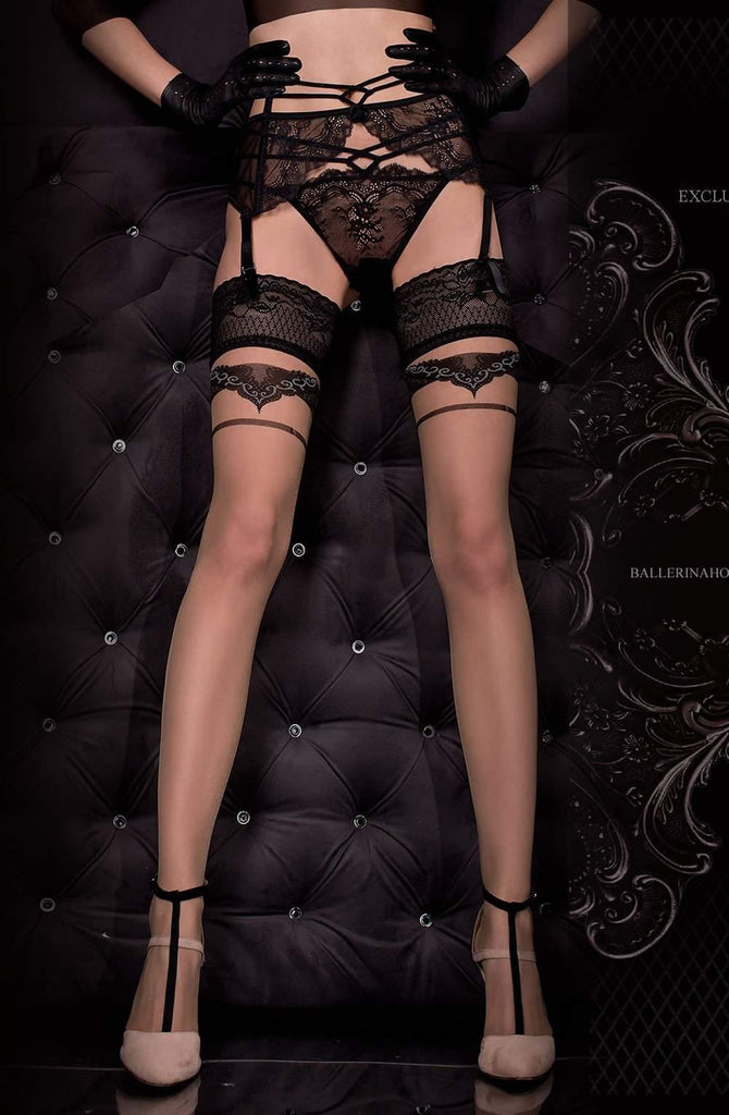 323 Hold Ups in Nero (Black) / Skin by Ballerina - Ballerina - Katys Boutique Lingerie USA
