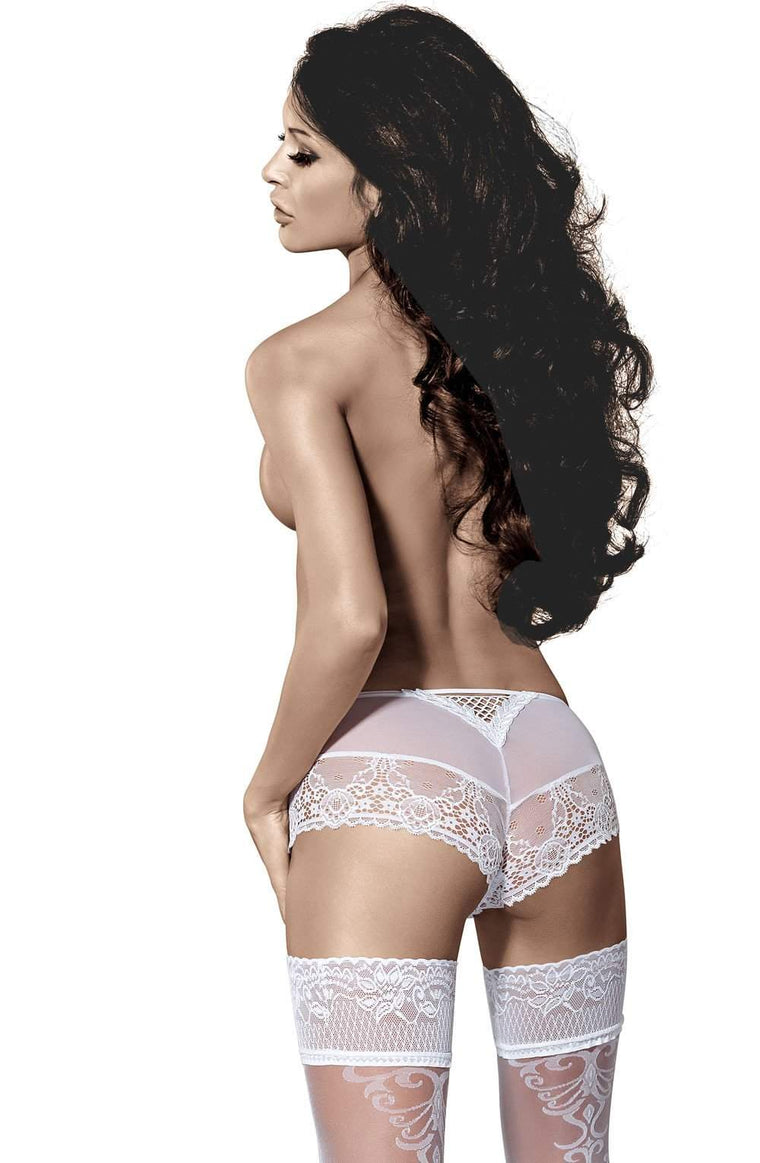 Genezis Hold Ups in White by Roza - Roza - Katys Boutique Lingerie USA