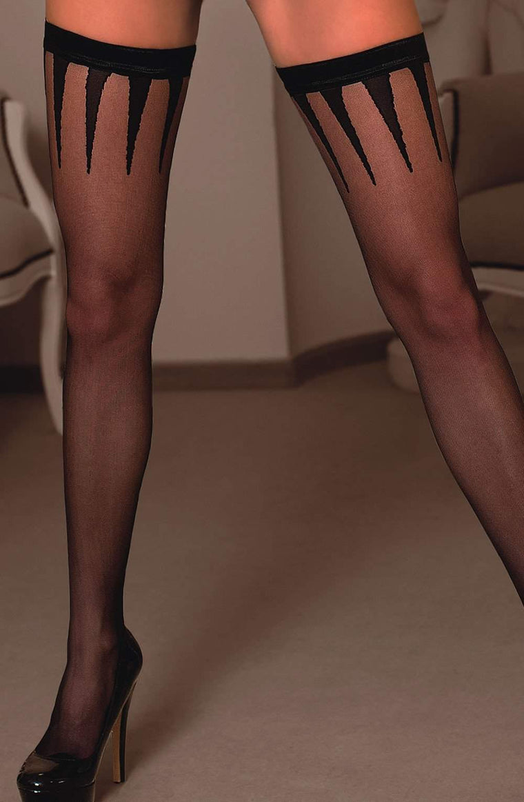Frosa Hold Ups in Black by Roza - Roza - Katys Boutique Lingerie USA