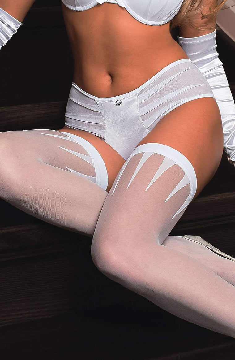 Frosa Hold Ups in White by Roza - Roza - Katys Boutique Lingerie USA
