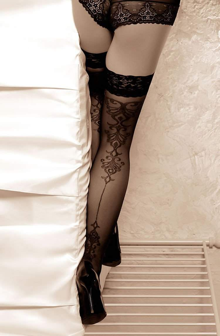 Genezis Hold Ups in Black by Roza - Roza - Katys Boutique Lingerie USA