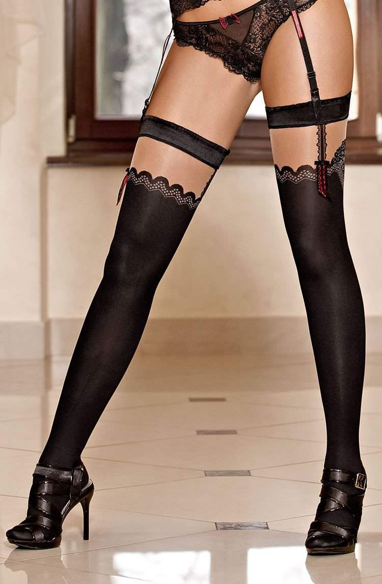Solaria Hold Ups In Black by Roza - Roza - Katys Boutique Lingerie USA