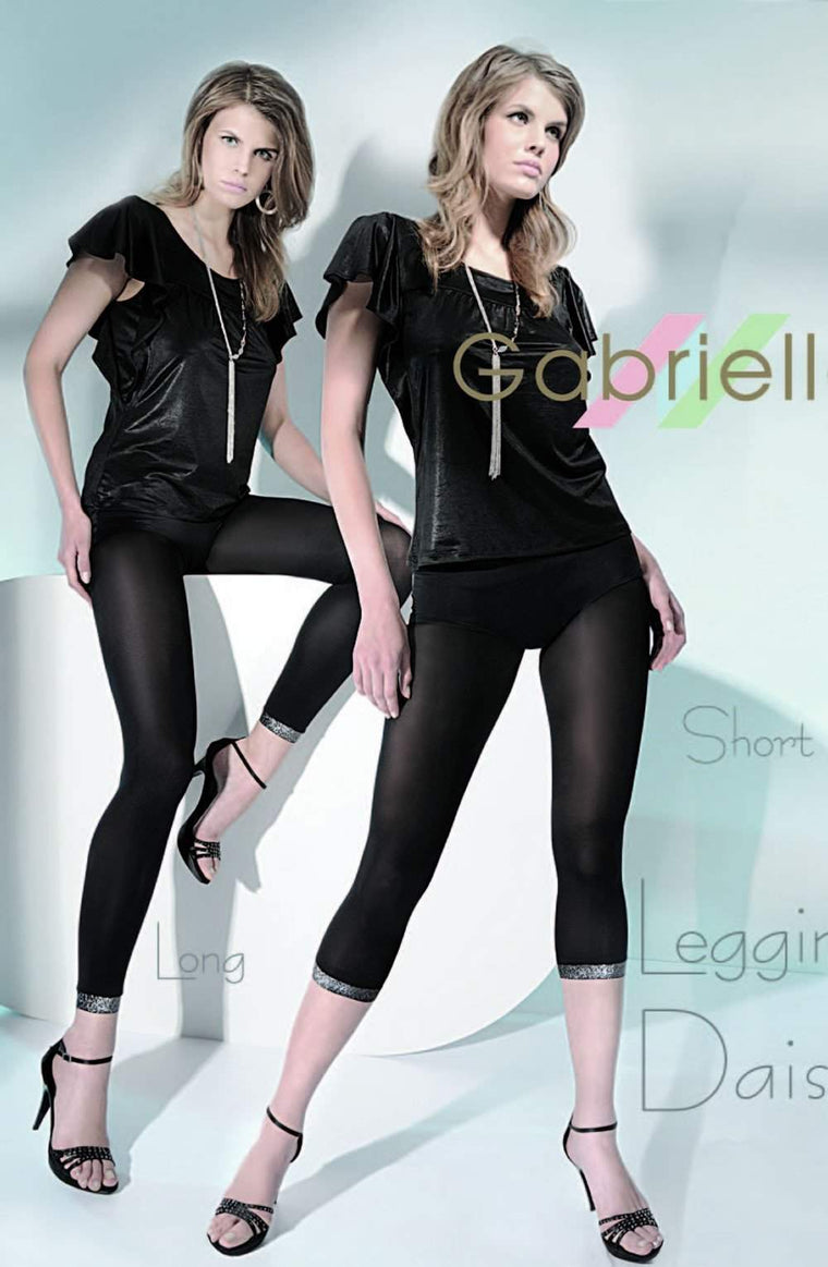 Daisy Long Leggings in Nero/Silver by Gabriella - Gabriella - Katys Boutique Lingerie USA