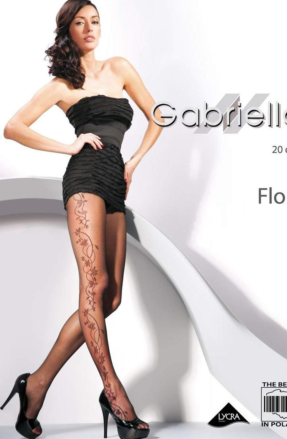 Fantasia Flora Tights in Nero by Gabriella - Gabriella - Katys Boutique Lingerie USA