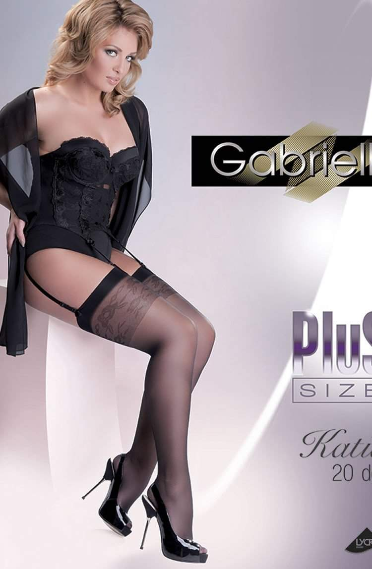 Katia Stockings Plus Size in Nero by Gabriella - Gabriella - Katys Boutique Lingerie USA