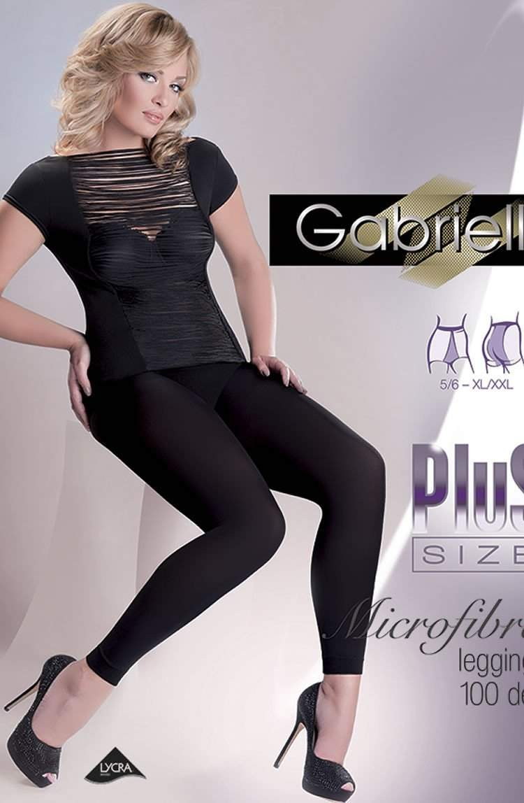Leggings Plus Size in Nero by Gabriella - Gabriella - Katys Boutique Lingerie USA