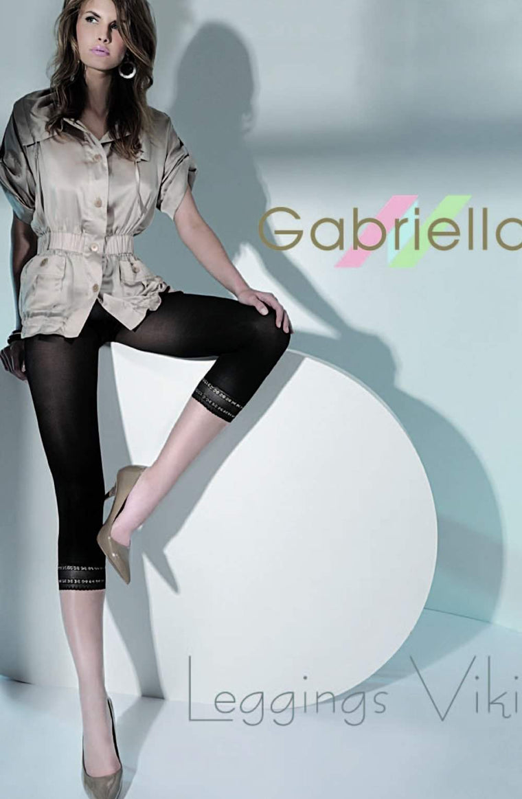Microfibre Viki Leggings in Nero/Gold by Gabriella - Gabriella - Katys Boutique Lingerie USA