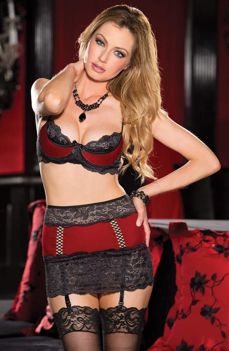25480 Lingerie Set in Red / Black by Shirley of Hollywood - Shirley of Hollywood - Katys Boutique Lingerie USA