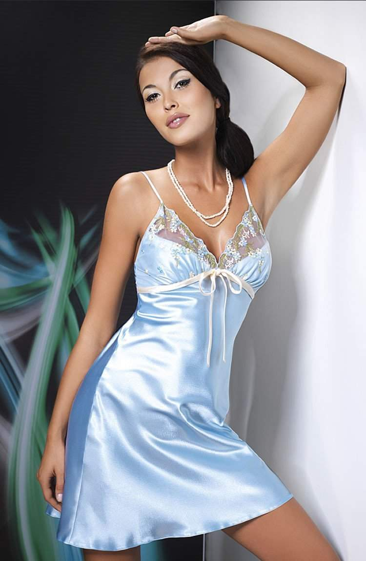 Grace Nightdress In Blue by Irall - Irall - Katys Boutique Lingerie USA