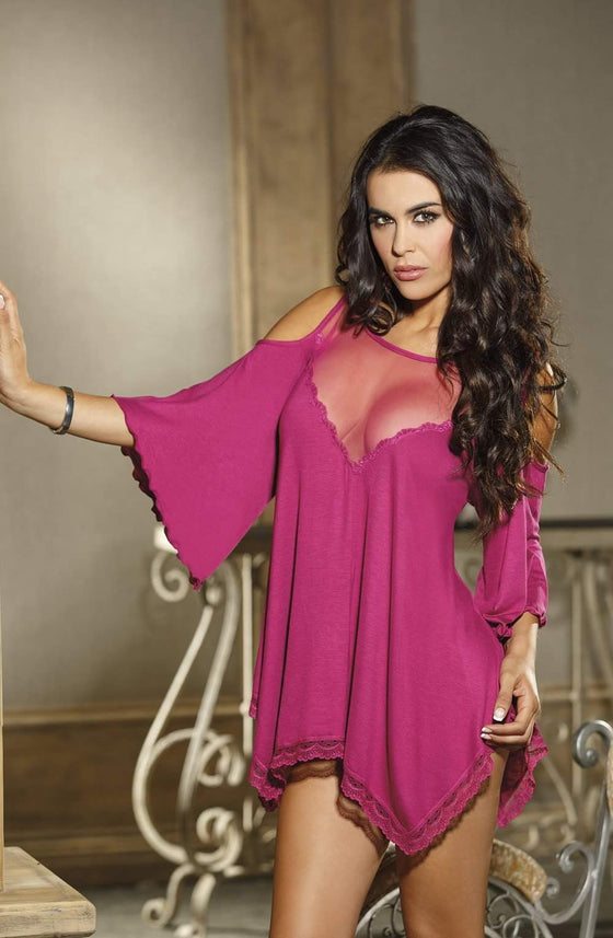 3257 Rayon Jersey Knit Sleepshirt in Magenta by Shirley of Hollywood - Shirley of Hollywood - Katys Boutique Lingerie USA
