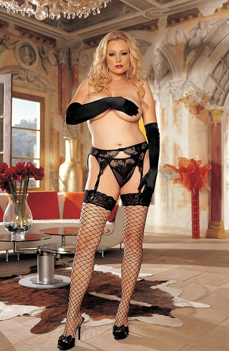 X90062 Plus Size Stockings in Black by Shirley of Hollywood - Shirley of Hollywood - Katys Boutique Lingerie USA