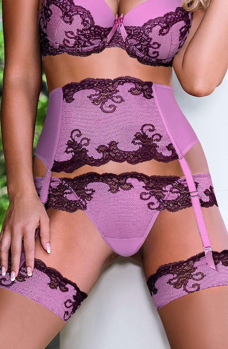 Caryca Suspender Belt in Pink by Roza - Roza - Katys Boutique Lingerie USA