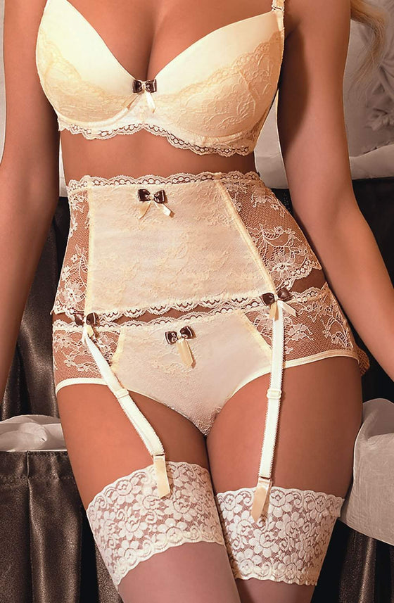Fifii Suspender Belt In Ivory by Roza - Roza - Katys Boutique Lingerie USA