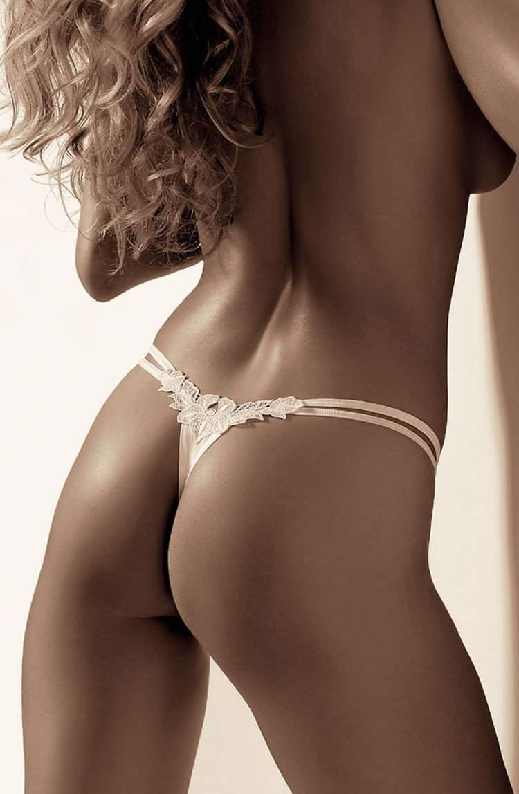 Agnez Thong In White by Roza - Roza - Katys Boutique Lingerie USA