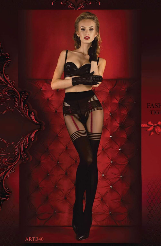 340 Tights in Black / Red by Ballerina - Ballerina - Katys Boutique Lingerie USA