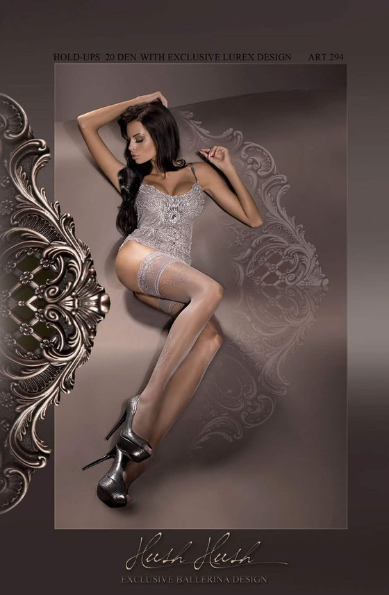 294 Hold Ups in Fumo (Smoke) by Ballerina - Ballerina - Katys Boutique Lingerie USA
