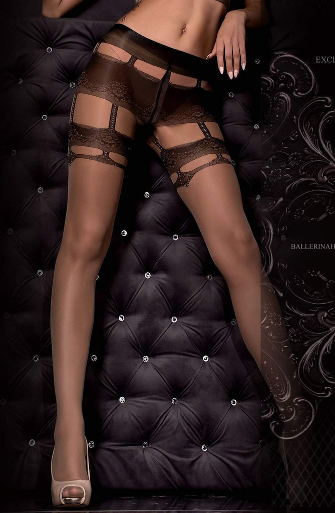 307 Tights Nero (Black)/Skin by Ballerina - Ballerina - Katys Boutique Lingerie USA