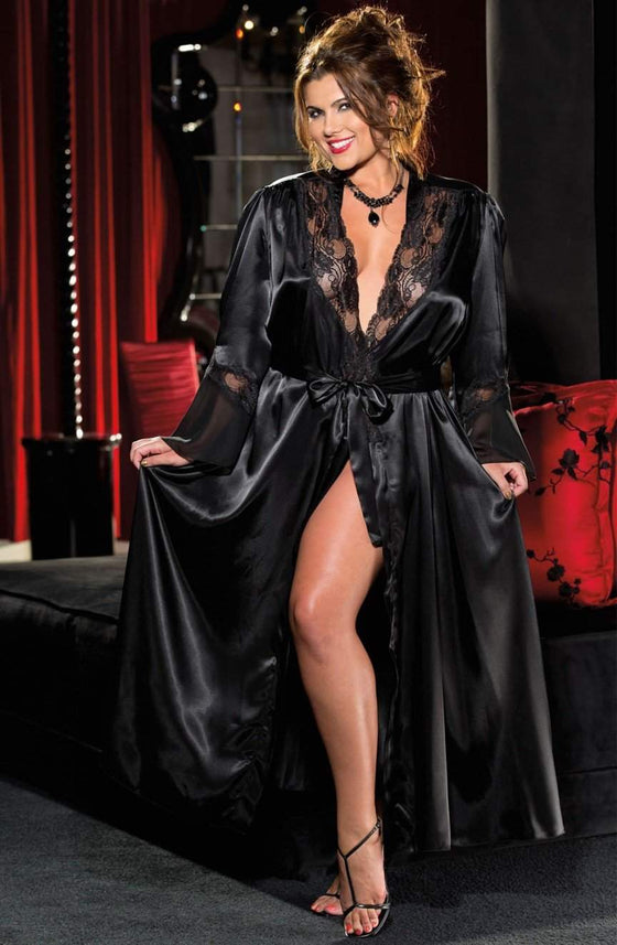 20559 Long Robe in Black by Shirley of Hollywood - Shirley of Hollywood - Katys Boutique Lingerie USA